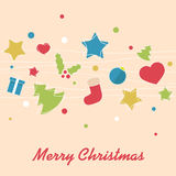 Christmas background. With stars, trees, baubles and socks Stock Image