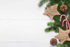Christmas background with stars in vintage style and lollipop Royalty Free Stock Photos