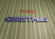 Christmas background striped. Green striped background with merry christmas 3d text royalty free stock photo