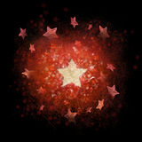 Christmas background of structured stars. Layered red and white stars background with subtle line structures, photographed stars and ornaments around the big Royalty Free Stock Images