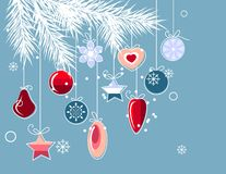 Christmas background with stylized contour balls Stock Photos