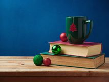 Christmas background with tea cup Royalty Free Stock Photography