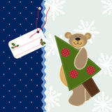 Christmas background with Teddy Bear. Cute Teddy Bear with Christmas Tree Stock Images