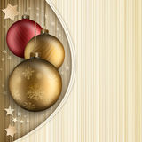 Christmas background template. Red and gold baubles on gold background Stock Images