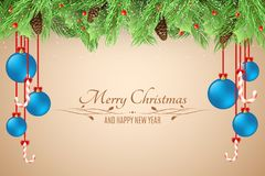Christmas background. Template for your project. Blue balls. Snowy berries with a fir tree on a light background. Lollipops with a. Ribbons. Happy New Year Stock Photos