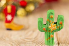 Christmas background with green cactus Royalty Free Stock Images