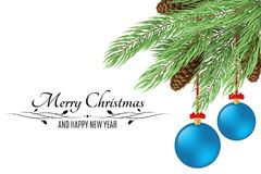 Christmas background with text. Merry Christmas and Happy New Year. Christmas tree with cones isolated on white background. Black. Text. Blue realistic stock illustration