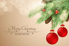 Christmas background with text. Merry Christmas and Happy New Year. Snow berries, fur tree, cones. Red realistic christmas balls. Glare bokeh, light particles stock illustration