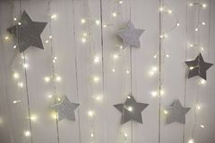 Christmas background texture. silver stars royalty free stock images