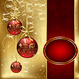 Christmas background with three red balls. Background with stars and Christmas balls, illustration Royalty Free Stock Photography