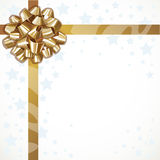 Christmas background tied with a gold ribbon and bow Royalty Free Stock Photos