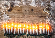 Christmas background top view candle garland greeting Stock Photo