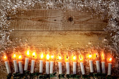 Christmas background top view candle garland greeting Stock Images