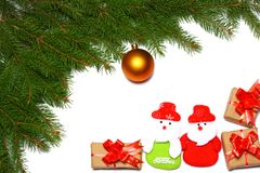 Christmas background. Top view with copy space. fir tree with cone isolated on white background royalty free stock photo