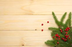 Christmas background. Top view with copy space. fir tree on light wooden background stock photography