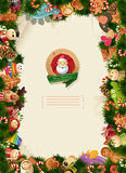 Christmas background - toys labels and paper Stock Photos