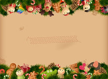 Christmas background- toys and old paper Stock Photos