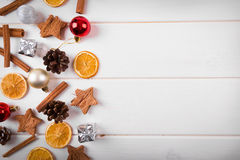 Christmas background with traditional festive decorations. copys Royalty Free Stock Photo
