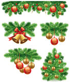 Christmas background with traditional green bow decorations ball, bells, ribbons Stock Photos