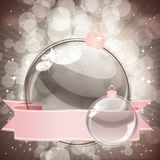 Christmas background with transparent balls Stock Photos