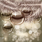 Christmas background with transparent balls Stock Images