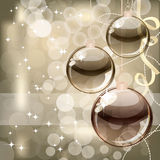 Christmas background with transparent balls. Illustration for your design Stock Image