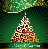 Christmas background with tree. Christmas eve card floral flake tree green winter Stock Illustration