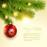 Christmas background tree. Vector christmas ball hanging on pine tree Royalty Free Stock Image
