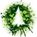 Christmas Background - Tree. Grungy Christmas Decoration With Green Splatters royalty free illustration