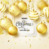 Christmas Background With Tree Balls, Ribbon And Confetti. Golden Ball. New Year. Winter holidays. Season Sale. Decoration. Gold Xmas Gift stock illustration