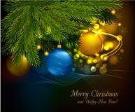 Christmas background with tree and balls. Vector vector illustration