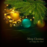 Christmas background with tree and balls. Vector Royalty Free Stock Image