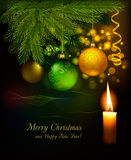 Christmas background with tree and baubles. Vector Royalty Free Stock Images