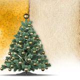 Christmas background - tree and blank paper sheet Stock Image