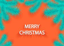 Christmas background with tree branch or branch of spruce in  blue orange. Christmas background with tree branch or branch of spruce in blue orange creative Stock Photography
