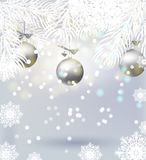 Christmas background with tree branches, balls, snowflakes, twinkling lights. Festive banner. Christmas background with tree branches, balls, snowflakes Royalty Free Stock Image