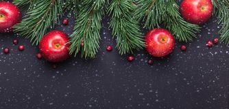 Christmas background with tree branches, red apples and cranberries. Dark wooden table. Snowfall drawing effect. Top view. Copy space stock photo