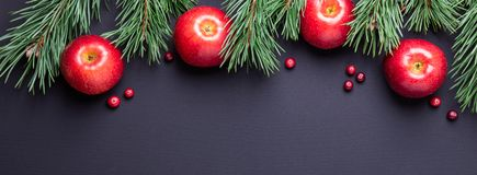 Christmas background with tree branches, red apples and cranberries. Dark wooden table stock photo