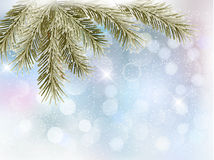 Christmas background with tree branches and snowfl Stock Photo