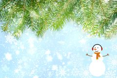 Christmas background, Christmas tree branches and snowman, happy new year inscription vector illustration