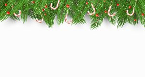 Christmas background with a Christmas tree, candies and snow berries. White background. Falling snowflakes. Template for your proj. Ect. Vector illustration Royalty Free Stock Images
