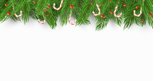 Christmas background with a Christmas tree, candies and snow berries. White background. Template for your project. Vector. Illustration Stock Images