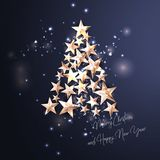 Christmas Background with Christmas Tree of Cutout Shining Gold Stars. Vector illustration Stock Photos