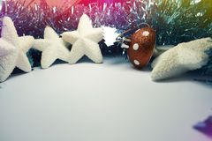 Christmas Background with tree decorations. Christmas card Stock Photography
