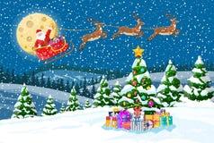 Christmas santa claus rides reindeer sleigh. stock illustration
