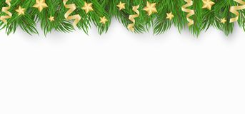 Christmas background with Christmas tree, golden stars and confetti of ribbons. White background. Template for your project. Vecto. R illustration Royalty Free Stock Images