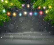 Christmas background with tree and light Royalty Free Stock Image