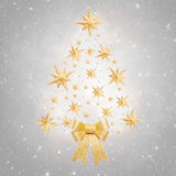 Christmas background - tree made of stars on silver background Royalty Free Stock Images