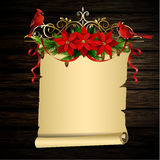Christmas background with tree. Christmas background with paper scroll ribbon and lights on a wooden wall with free space for writing your wishes with poinsettia Stock Photos