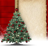 Christmas background - tree and paper sheet Stock Photography